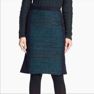 Tory Burch Keegan Navy & Green Bourke Skirt